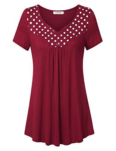 Sweetheart Tunic Top (Lyking Women's Sweetheart Neckline Polka Dot Stitching Tunic Top Pleated Casual Shirts(XXL,Purple Red))
