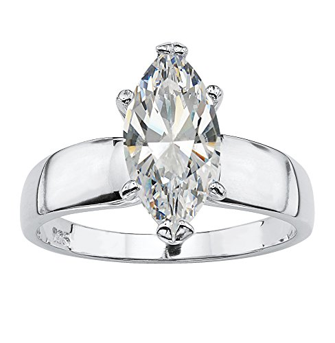 te Cubic Zirconia Rhodium-Plated .925 Sterling Silver Solitaire Ring ()