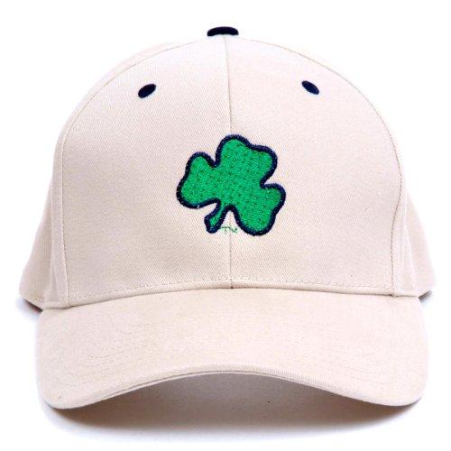 Fiber Optic Baseball Caps (NCAA Notre Dame Fighting Irish Shamrock LED Light-Up Logo Khaki Adjustable Hat)