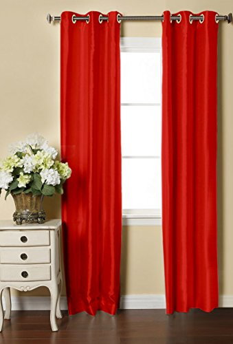 LUSHOMES Red Dupion Silk Curtain with 6 Plastic Eyelets (Pack of 2 pcs) for Doors