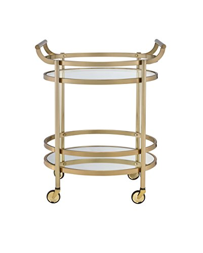 ComfortScape Mobile Kitchen Service Cart with Tempered Glass Shelves & Open Storage, Brass Gold Finish