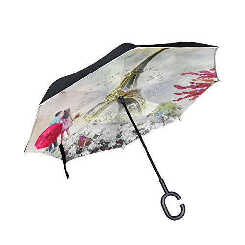 All agree Inverted Reverse Umbrella Eiffel Tower Watercolor Windproof for Car Rain ()