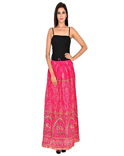 Skirt Pink Camel for Long Print Indian Women Export Gold Rayon Handicrfats 1Bw8qg