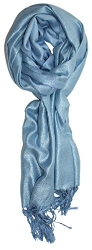 Ted and Jack - Dreams of Stardom Sparkling Metallic Pashmina Scarf in Sky Blue