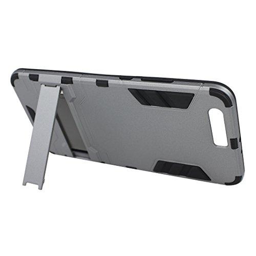 "Rosa Schleife Ultra Delgada Huawei P10 Plus Funda de Protección Híbrido Armadura Escabroso Caso Doble Capa Carcasa Trasera Función de Soporte Funda de Móvil Para Huawei P10 Plus (5.5""), Negro Gris"