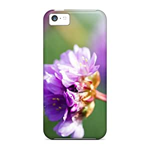 Tpu Case Cover Compatible For Iphone 5c/ Hot Case/ Purple Wildflower
