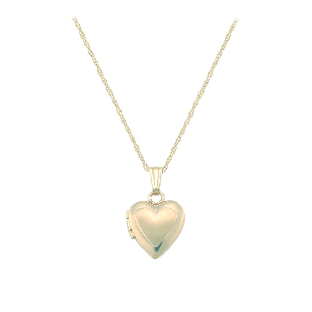 Baby & Toddler Jewelry - 13 In 14K Yellow Gold Heart Locket Necklace With Engraving
