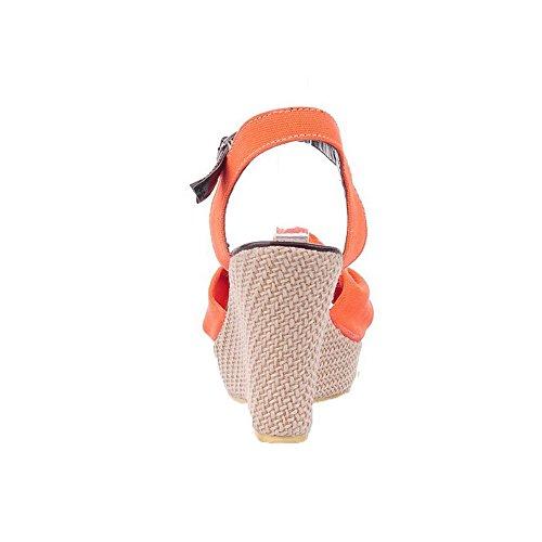 Orange D'Orteil Sandales à femme Boucle Couleur Pu Talon Ouverture Unie Cuir Haut AalarDom ax7twHSwn