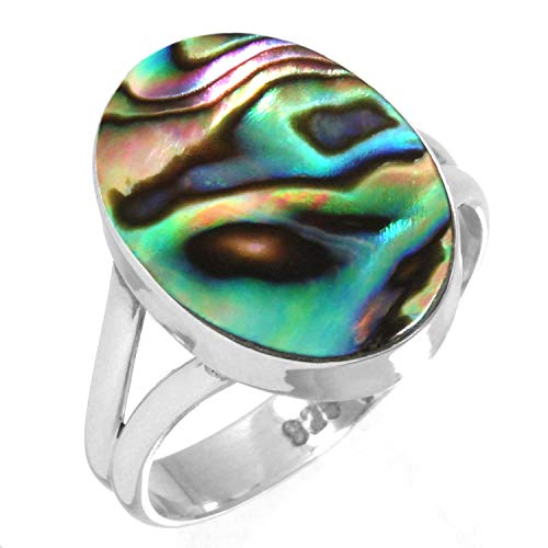 Natural Abalone Shell Women Jewelry 925 Sterling Silver Ring Size 7