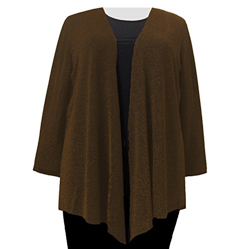 A Personal Touch Copper Sparkle Women's Plus Size Cardigan Sweater - 1X (Metallic Sparkle Sweater)