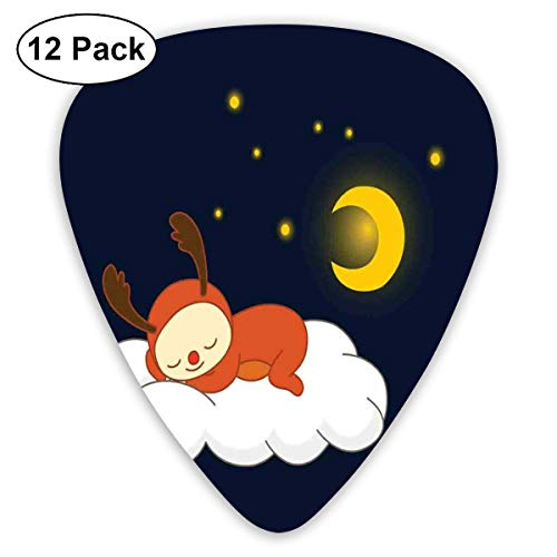 - Guitar Picks 12-Pack,Reindeer Sleeping With Stars And Crescent Moon On Blue Shade Backdrop