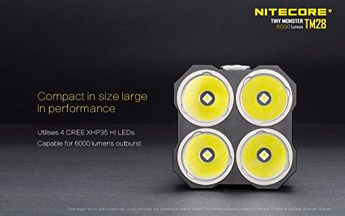 NITECORE TM28 4CREE XHP35 HI max.6000LM beam distance 655meter LED outdoor flashlight + 4pcs 18650 3100mAh li-ion batteries by Nitecore (Image #2)