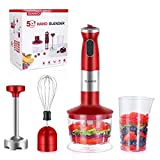 SUNAVO BL-08 Powerful700W ElectricImmersion Multi-Purpose Hand Blender 4-in-1 Hand Stick Blender Includes Food Processor BPA-Free Beaker and Stainless Steel Egg Whisk,Red