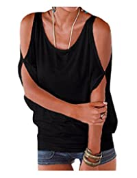 Women's Solid Color Cold Shoulder Blouse Oversized Batwing Back Lace-Up T-Shirt