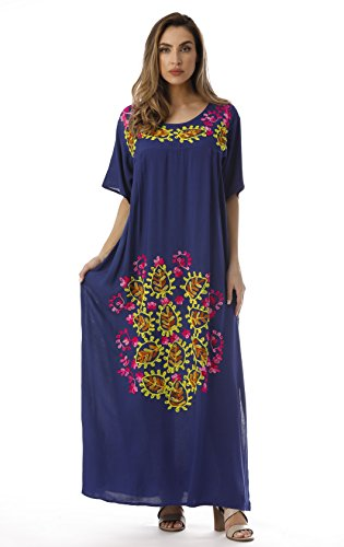 Side Royal Riviera Double Dress Sun Maxi Embroidered with Mexican Slits qz0qgWZ
