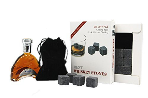 Best Whiskey Stones Wine Rocks By Connoisseur s Choice- Set of 9 Chilling Stones- Chill Your Wines Spirits Without Diluting Their Taste- High Quality-Reusable- Made of 100 Pure Soapstone-Gift Box