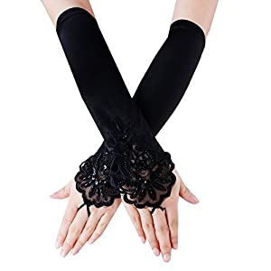 JISEN Lady Fingerless Beaded Floral Embroidery Lace Sequins Satin Gloves
