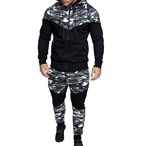 (Mens Long Sleeve Camo Hoodies Sweatshirt + Tracksuit Long Pants 2Pcs Sets with Pockets (XXX-Large,)