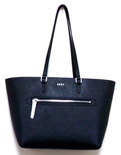 Dkny Shopper Womens - Donna Karen New York DKNY 100% Black Gross Grain Cow Leather Handbag - Shopper - Tote - Medium - Large R83a1398 Bvs
