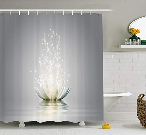 Ambesonne Lotus Shower Curtain, Lotus Petals Boho Inspiration Relax Exotic Waterlily Picture, Cloth Fabric Bathroom Decor Set with Hooks, 70 Inches, Pale Grey Pale Green Coconut