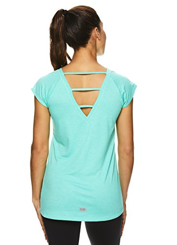 Nicole Miller Active Women's Strappy Back Workout T Shirt - Performance Gym & Yoga Tee - Strappy Cockatoo Heather Turquoise, Small