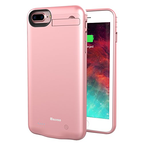Iphone 7 Plus  8 Plus Battery Case Marsno 4000Mah Backup Charging Case Protective Power Case Juice Bank Cover With Kickstand For Iphone 7 Plus 8 Plus 5 5 Inch   Iphone 6 6S Plus Compatible  Rose Gold