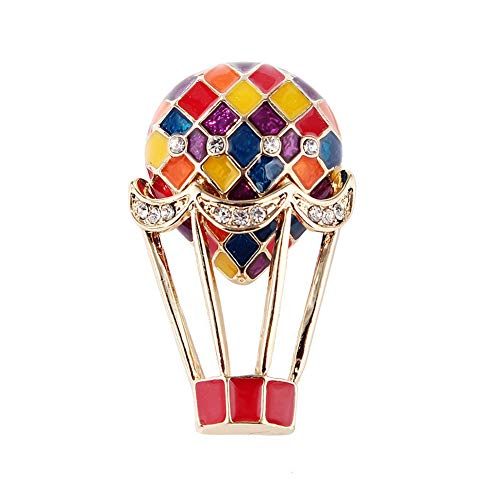 SKZKK Hot Air Balloon Colourful Enamel Lapel Pin Brooch Pins for Women Crystal Fashion Painted Elegant Brooch Pin Women Corsages Scarf -