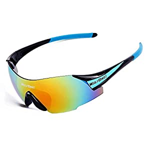 WOLFBIKE UV400 Cycling Glasses Mountain Bike MTB Sunglasses Eyewear - ONE Lens (NEW black blue)