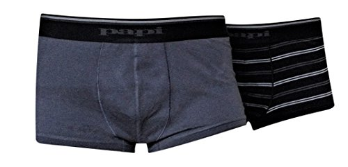 Papi - Men's Stretch Brazilian Trunks - Pack of 2 (X-Large, Gray/ Black - Stretch Pouch Trunk