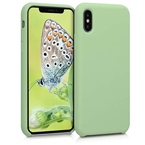 kwmobile TPU Silicone Case for Apple iPhone X - Soft Flexible Rubber Protective Cover - Light Green