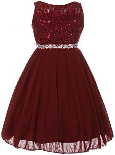 Big Girls Sparkling Sequin Lace Chiffon Flower Girls Dresses (12C12C) Burgundy 12
