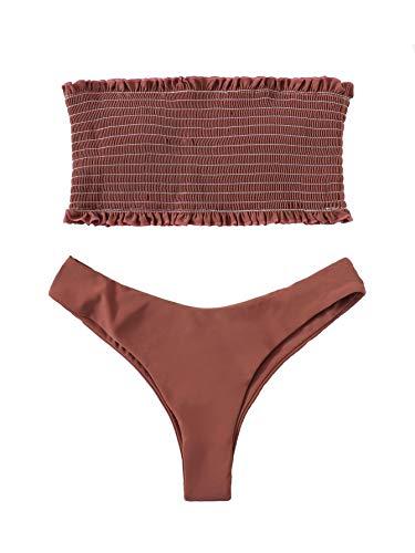 DIDK Women's Smocked Frill Trim Bandeau with High Cut Bikini Set Brown M