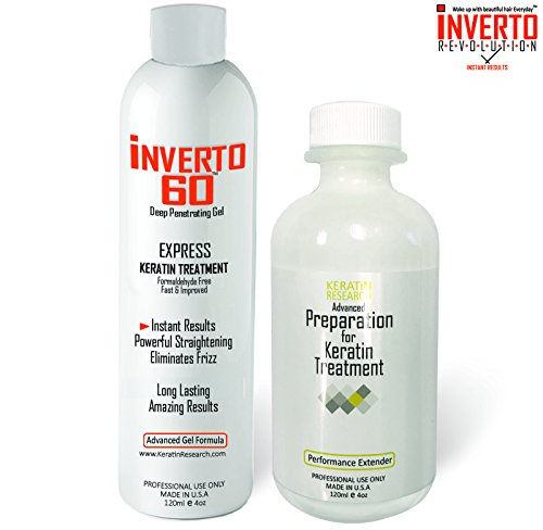 INVERTO 60 Advanced Gel Complex Brazilian Keratin Hair Blowout Treatment Formaldehyde Free 120ml with Advanced Preparation Straightening Smoothing and Repairing Damaged Hair Keratin Research Smoothing Straightening Gel