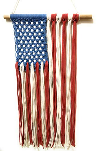 (Now Is Now Stars & Stripes USA Flag Patriotic Macrame Wall Hanging. Lightweight - 1.3 lbs (0.6 kg).)
