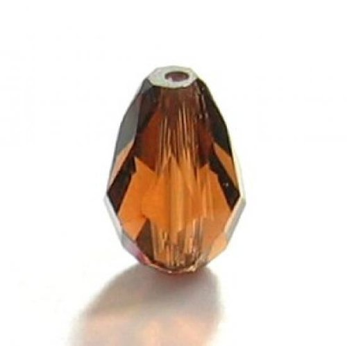 2 pcs Swarovski Crystal 5500 Teardrop Briolette Bead Smoked Topaz 10.5x7mm / Findings / Crystallized Element Smoked Topaz Swarovski Crystal Beads