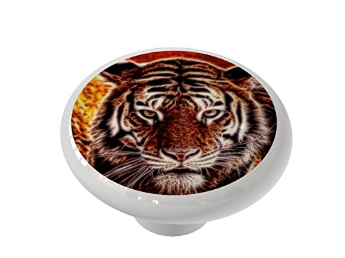 Tiger Glow Ceramic Drawer Knob (Tigers Ceramic Chip)
