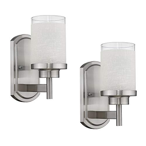 Jazava 2 Pack Bath Vanity Light Fixture, Modern Bathroom Wall Lights, White Linen Frosted Glass Shades in Brushed Nickel Finish