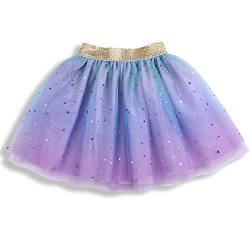 - Newborn Infant Baby Girls Rainbow Sparkle Tutu Skirt Girls Sequin 3 Layered Puffy Soft Tulle Skirt (Purple, L 2-5 Years)