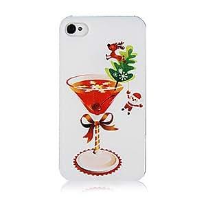 ZXM-Patrón de cristal de la Navidad de plástico de nuevo caso de iPhone 4/4S