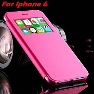 For Iphone 6 Leather Case Front Window View Pu Leather Case For Iphone 6 Plus Sleep Flip Original Cell Phones Cover Bag Pouch Hot Pink For Iphone-Hot Pink For IPHONE
