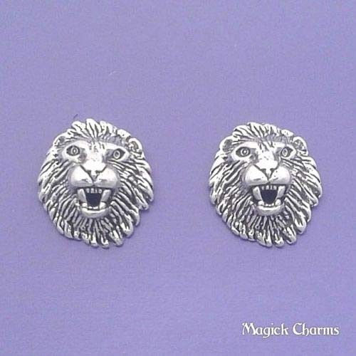 Sterling Silver Lion Head Post Stud Earrings Leo Zodiac DIY Jewelry Making Supply by Charm Crazy