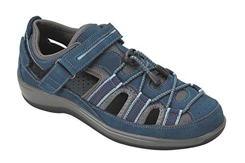 Orthofeet Naples Comfort Orthopedic Diabetic Plantar Fasciitis Womens Sandal Fisherman Blue Leather 9 W US by Orthofeet
