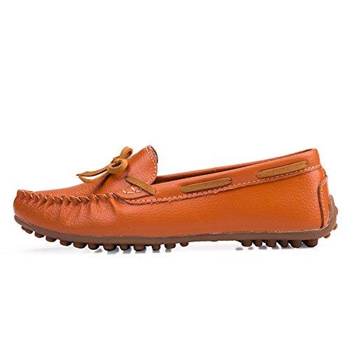 Vilocy Scivolare Libero su Bowknot Tempo Mocassini Appartamenti Guida Mocassini Pantofole Arancia Donna Scarpe Pelle rFxnrU6wT