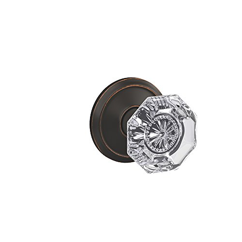Schlage Custom FC21 ALX 716 ALD Alexandria Glass Knob with Alden Trim Hall-Closet and Bed-Bath Lock, Aged Bronze