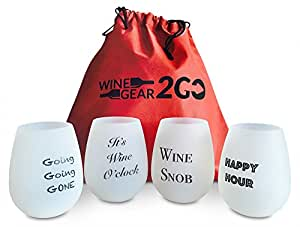 4 Wine Glasses Unbreakable W/Bag-Great Gift Food Grade Silicone Funny and Durable Shatterproof Stemless Great for Wine Beer Whiskey Cocktail any Beverage Outdoor Party Pool Camping Beach Frosted