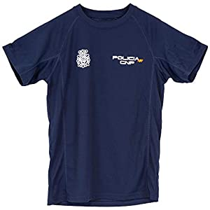 CNP Camiseta policia Nacional Tejido Tecnico para Entrenamiento oposiciones, Color Azul Marino con Bandera de españa, Disponible en Varias Tallas 8