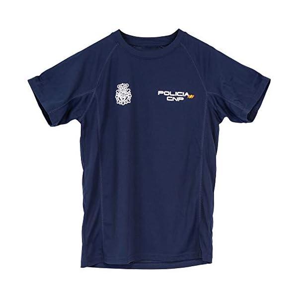 CNP Camiseta policia Nacional Tejido Tecnico para Entrenamiento oposiciones, Color Azul Marino con Bandera de españa, Disponible en Varias Tallas 1