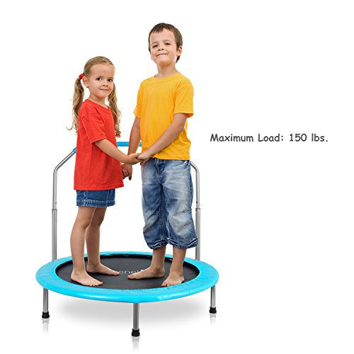 "Serenelife Portable & Foldable Trampoline - 36"" dia Springfree Rebounder Jumping Mat Safe for Kid w/ Padded Frame Cover and Handlebar and Carry Bag"