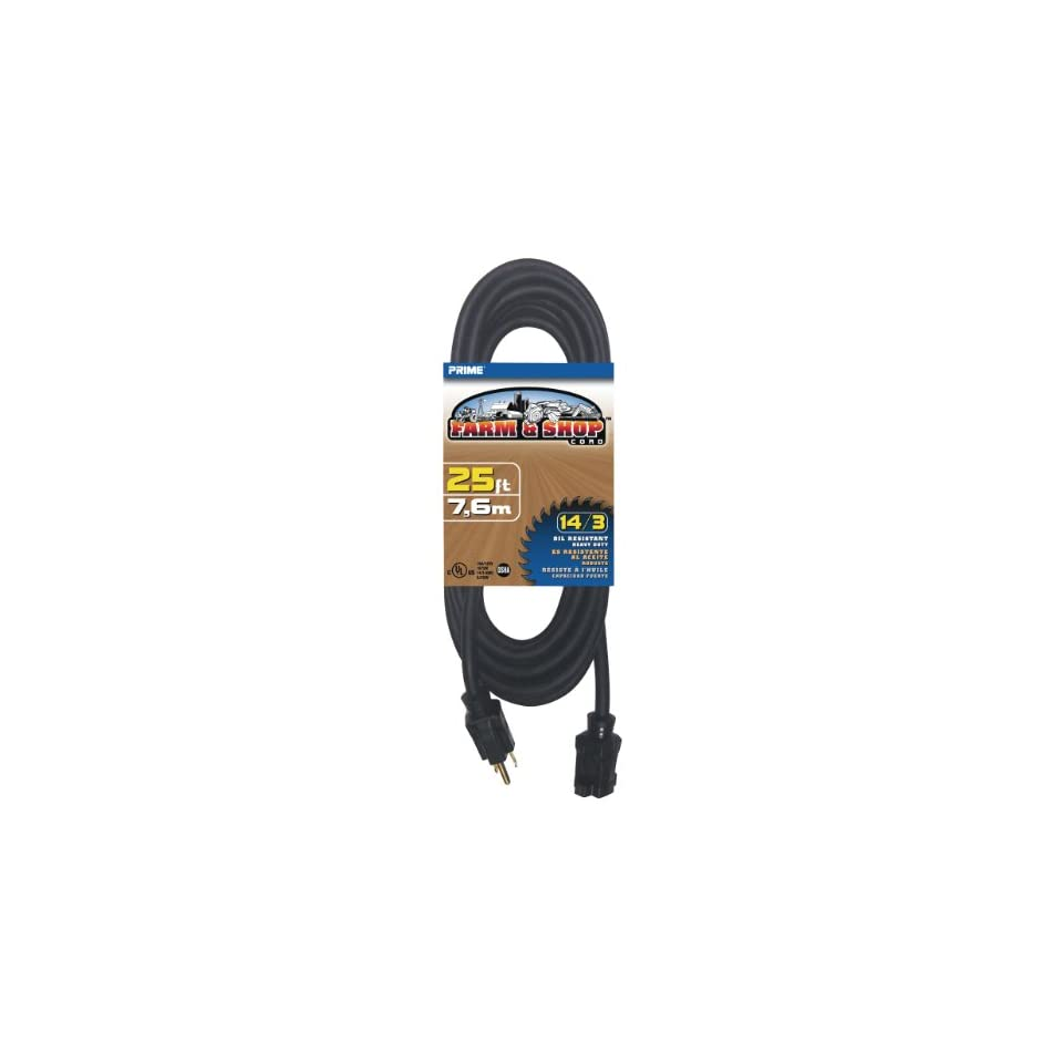 Prime Wire & Cable EC532725 25 Foot 14/3 SJTOW Farm and Shop Extension Cord, Black
