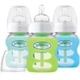 Dr. Brown's Options 3 Piece Wide Neck Glass Bottle in Silicone Sleeve, Green/Mint/Blue, 5 Ounce